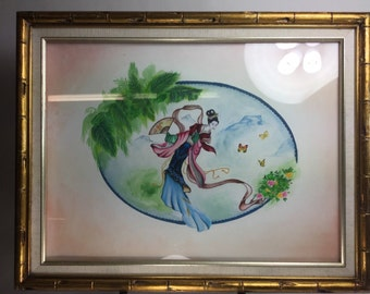 Original mixed media Geisha painting of women flying