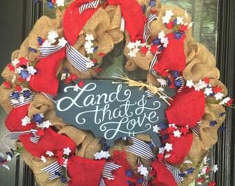 """26"""" Patriotic Burlap Wreath"""