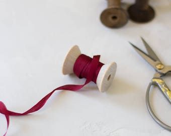 "Burgundy Red Hand-Dyed Silk Ribbon (with Wooden Spool) - 5 yards - 1/4"" wide"
