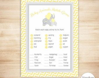 Elephant Animal Match - Baby Shower Game - Yellow Chevron - PRINTABLE, INSTANT DOWNLOAD