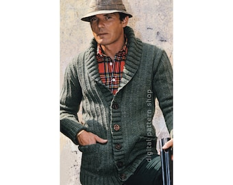 Mens Knit Cardigan Pattern Sweater Jacket Knitting Pattern PDF Instant Download M L XL - K75