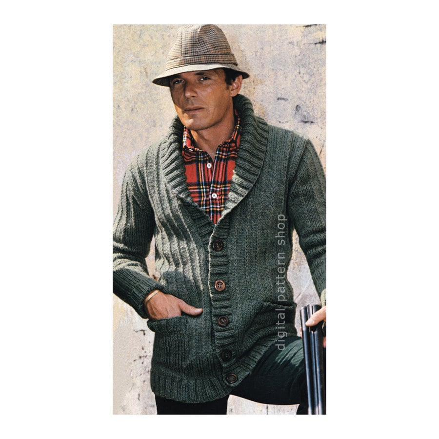 Mens Knit Cardigan Pattern Sweater Jacket Knitting Pattern PDF