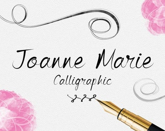 Digital font - Calligraphy font, Joanne Marie Calligraphic font. elegant typeface. Wedding font. Can be used for a photography logo Monogram