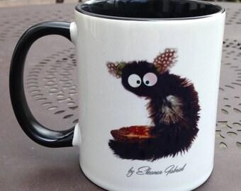 Black mug with lemur and philosophical text