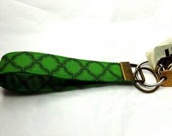 Green Lattice key fob wristlet keychain