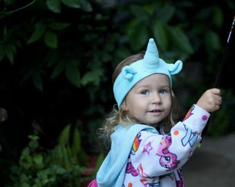 Organic blue Unicorn Headband, eco friendly dyes, halloween