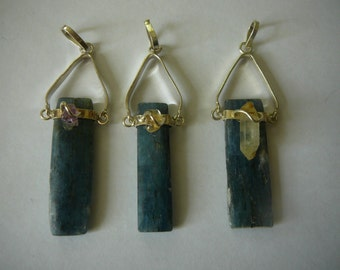 Blue Kyanite Pendant - With Amethyst, Citrine, or Clear Quartz - Your Choice
