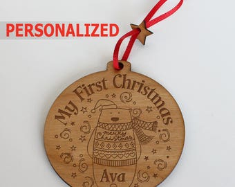 Personalized- My first Christmas ornament-Christmas Tree Ornament- Christmas Gift