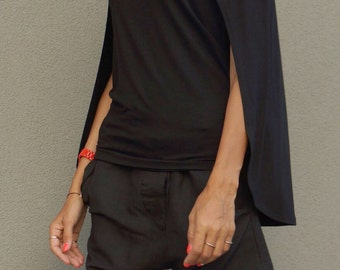 NEW Black Viscose Cape Top / Black Loose Blouse/ Tunic Top /  Loose slit sleeves  / Party top by AAKASHA A12479