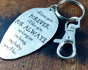 I'll love you forever, I'll like you for always. As long as I'm living, my baby you'll be. Robert Munsch Keychain, Inspirational Accessories