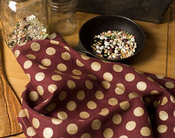 Linen Tea Towel Red with Gold Dots