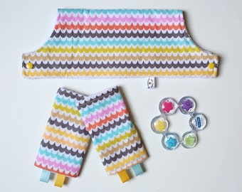 Drool Pads and Bib SET // Spa Scallops // Beco Gemini Lillebaby Ergo 360
