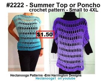 crochet poncho pattern, easy crochet sweater, summer poncho, easy breezy style, women, plus size, teen clothing, #2222yt
