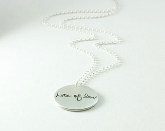 Silver Memorial Jewelry Large Pendant Your Loved Ones Actual Handwriting