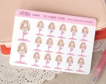 Kawaii autocollants décoratifs pour fille: cours de Yoga détente ~ Valerie ~ pour votre agenda, calendrier, Scrapbook, etc..