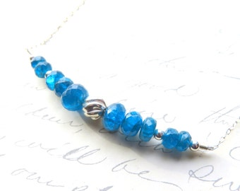 Gemstone Line Necklace, Blue and Silver Bar Necklace, Apatite and Sterling Silver Chain, Ocean Blue, Dainty Gemstone Jewelry, Gift for Her