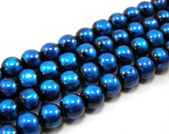 Set of 20 glossy 8 mm blue glass beads