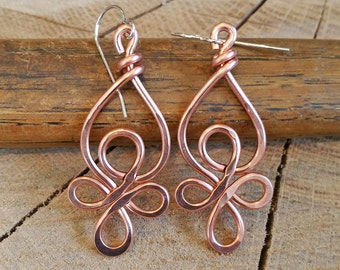 Celtic Loops Copper Wire Earrings, Celtic Knot Jewelry, Dangle, Handmade, Mother's Day Gift for Her Celtic Earrings, Women, Copper Jewelry