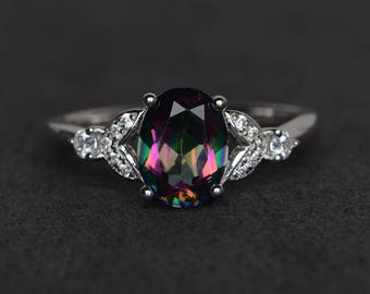 mystic topaz ring rainbow topaz ring oval cut engagement ring promise ring sterling silver ring