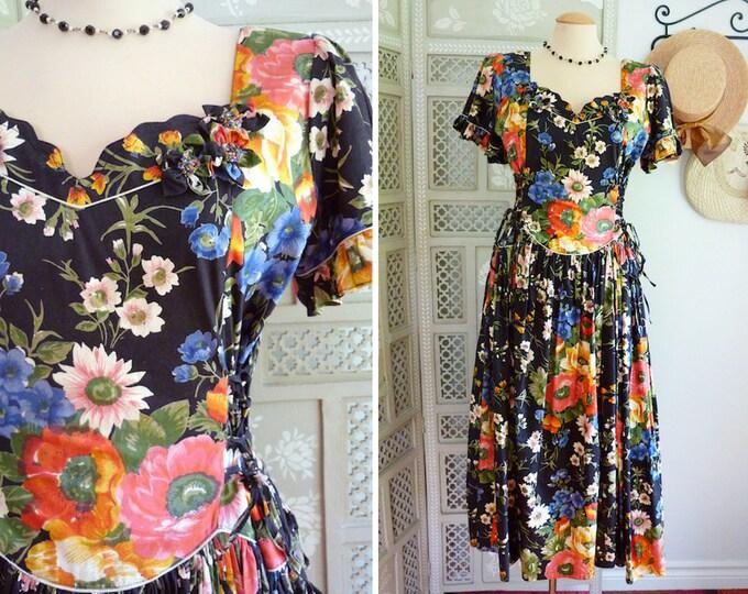 Flower print coton bouffant dress, romantic boho spirit