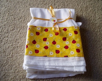 Flour Sack Dish towel with Cute Little Lady Bugs