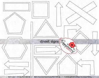 Street Signs and Arrows Clip Art Pack Card Making Digital Frames Page Borders