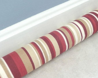 "Door Draft Stopper Striped  28"" to 42"" in Custom Sizes Red Tan Beige Door Snake Draft Excluder Window Draft Stopper"
