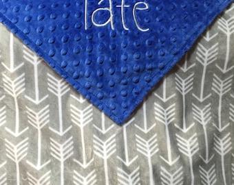 Personalized Minky Baby Blanket, Grey with White Arrows and Blue Minky, Arrow Blanket