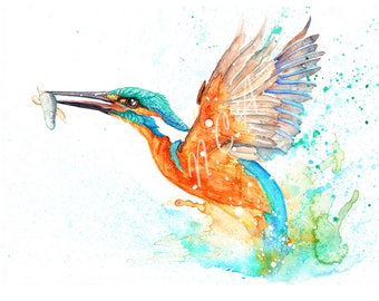 Kingfisher, Catch of the day. Original watercolour by Nicholas Clack