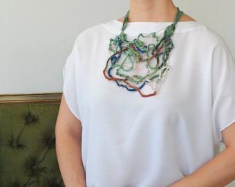 Crochet Wire Necklace. Statement Copper Wire Crocheted Necklace. Free Form Necklace. Textile Necklace. Copper Wire Necklace