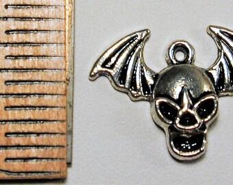 7 Antique Silver Skull & Bat Wing Charm  C166