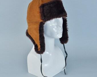 "Vintage Fur Trapper Warm Winter Hat Aviator Style Ear Flaps XLarge 60cm 24"""