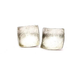 Trucioli Square Sterling Earrings, Concave Stud Earrings, Silver Square Post Earrings, Minimalist Square Earrings, Curved Square Earrings