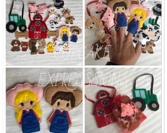 On the Farm Finger Puppet Set - Quiet Time Play Toy - Imaginative Play - Tractor, Pig, Cow, Farmer, Sheep, Chicken, Chicks