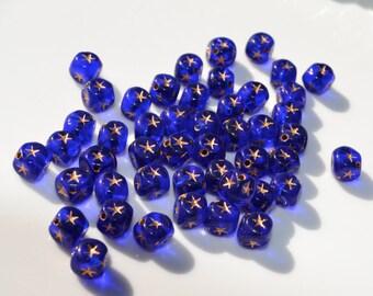 Cobalt Blue Celestial Star Cube Beads 50