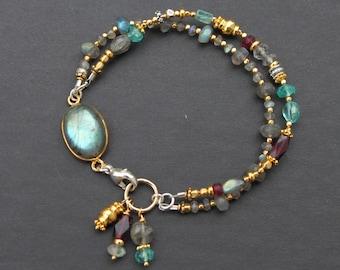Labradorite Apatite Garnet Gold plated Brass Silver Pewter Mixed Metal Sundance Style Double Strand Bracelet