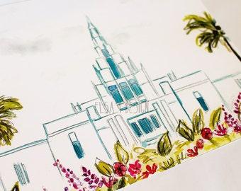 Phoenix, Arizona LDS Temple - Watercolor Temple 8x10 print by Elsa Ferre
