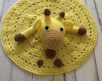 Crochet Giraffe cuddle blanket