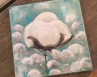 Cotton boll, cotton field, original art signed by artist