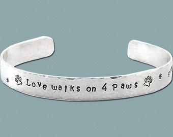 Love Walks on 4 Paws - Sterling Silver Cuff Bracelet - Five Sixteenths Inch