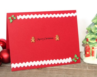 Handmade Christmas Card, Gingerbread Men, Ribbon, Holly, Unique, One of a Kind, Blank Inside, Free US Shipping