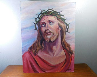 Vintage Jesus oil painting, outsider art, folk art Crown of thorns painting
