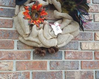 Turkey wreath, thanksgiving wreath, Turkey, thanksgiving, fall wreath