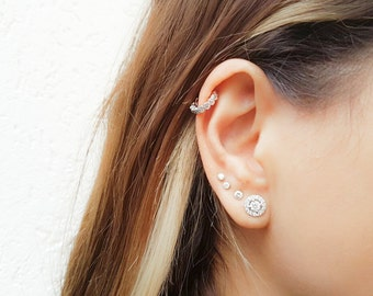CZ Helix Earring - Tiny Hoop Helix Ring - Silver Helix - Helix Earring Hoop - Helix Piercing - Helix Jewelry - Helix Cartilage Earring