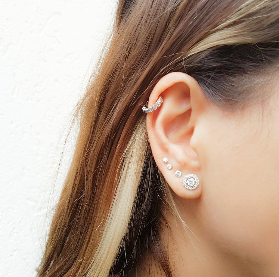 cz helix earring tiny hoop helix ring silver helix helix. Black Bedroom Furniture Sets. Home Design Ideas