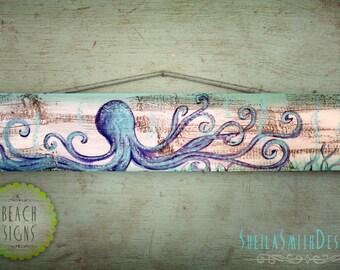 Plain Octopus, simple beach art, painted on barn wood sign, rustic,  Beach House Decor