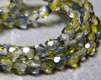 Black Diamond Olivine 4mm Faceted Fire Polished Glass Czech Round Beads (50)