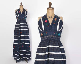 Vintage 60s Mexican Halter DRESS / 1960s Embroidered Navy Blue LACE Halter Festival Maxi Dress