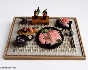 Sushi, salmon Sashimi (No.10) Maki Japanese food sets-Handcraft Dollhouse Miniatures 1/12