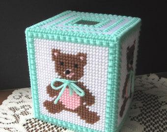 Plastic Canvas Boutique Tissue Box Cover - Brown Teddy Bear - Light Mint Trim